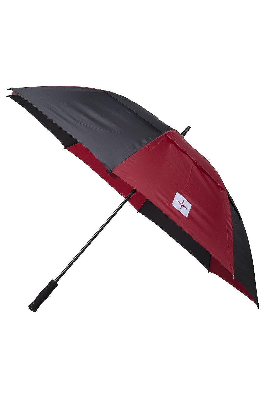 Mountain Warehouse垂直ストライプゴルフ傘 – ダブルキャノピー、非常に耐久性、お手入れ簡単 – 150 CM – GreatカバーフォームThe Rain Thanks toダブルキャノピーデザイン  レッド B018N0JY32