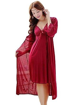 beliebte Geschäfte Original harmonische Farben Dayiss®Damen Sexy Nachthemd mit Spaghetti-Trägern Langarm Lace Morgenmantel  Dessous Negligee Babydoll Nachtwäsche (Rot)