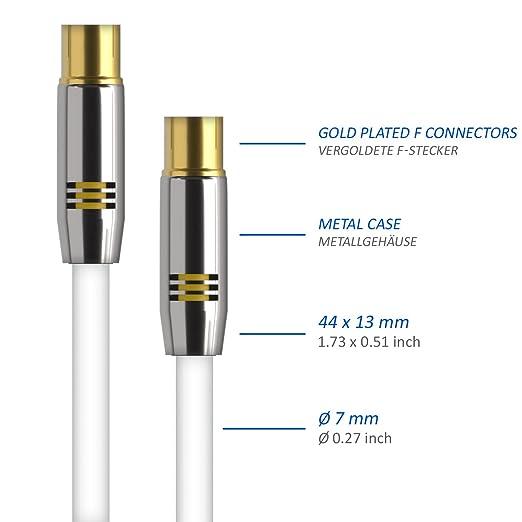 deleyCON TV Cable de antena 7,5m Cable coaxial / Conector dorado macho de TV / hembra de TV rectos Conector de metal 100dB UltraHD FullHD HDTV: Amazon.es: ...