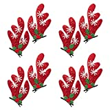 Pair of Red Fabric Snowflake and Holly Reindeer Antler Hair Clips (4 Pack)