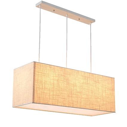 TangMengYun Lámpara colgante de tela nórdica simple, luces de techo colgantes decorativas de lino rectangulares, Iluminación colgante de la sala de ...