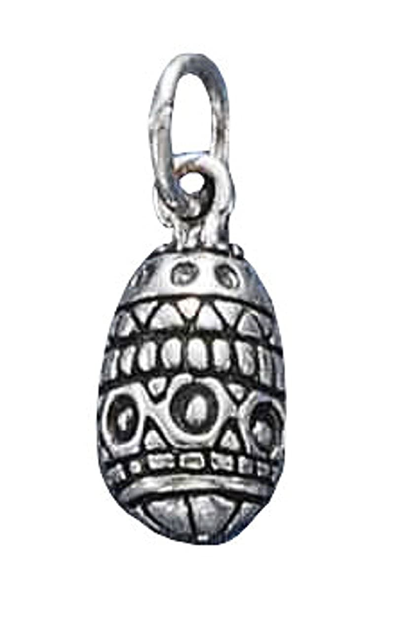 Sterling Silver Womens 1mm Box Chain Domed Faberge Easter Egg Pendant Necklace