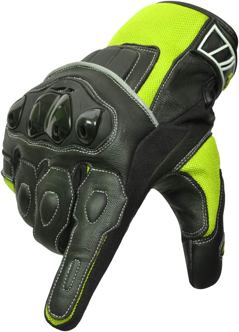 Oro Biker Guantes de Moto Grande, Negro//Verde Cuero Premium Transpirable Nudillos Protecci/ón pantalla t/áctil Guantes Carreras ATV Guantes