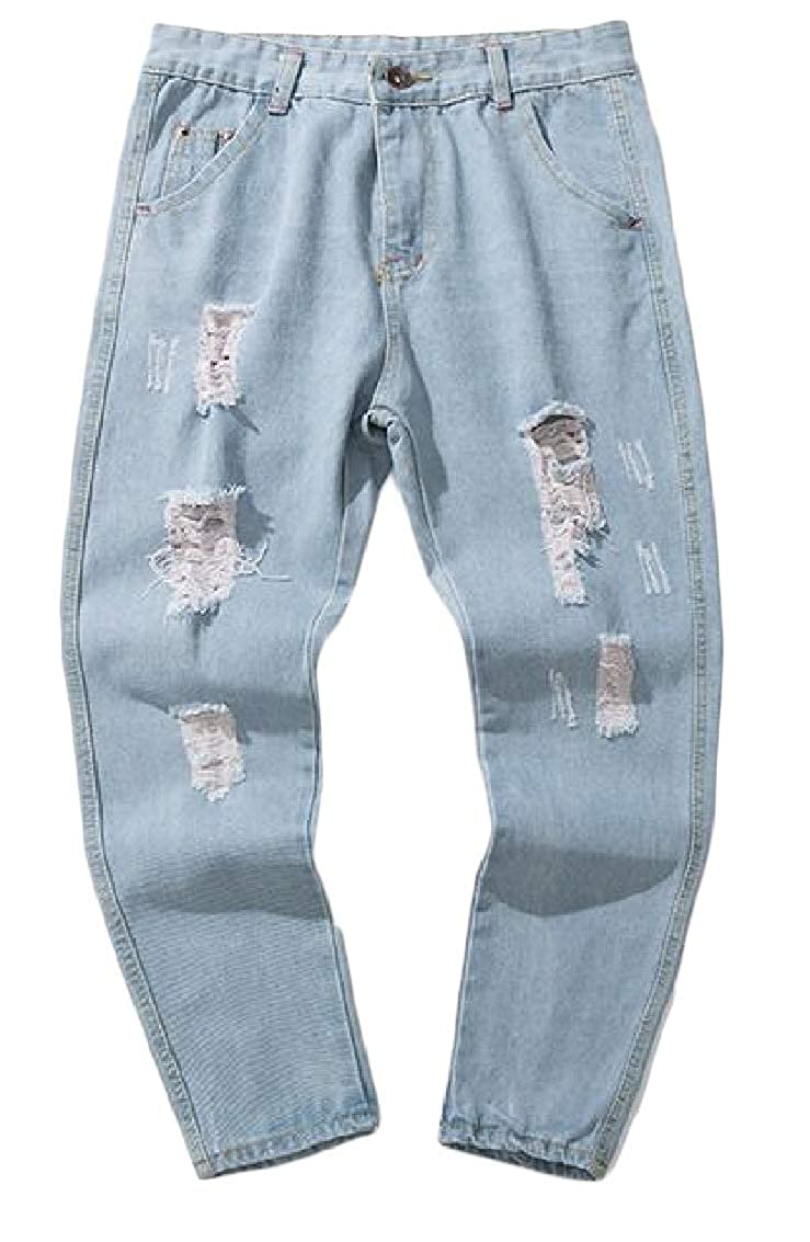 Sweatwater Mens Denim Jeans Faded Trousers Stylish Ripped Ankle Pant