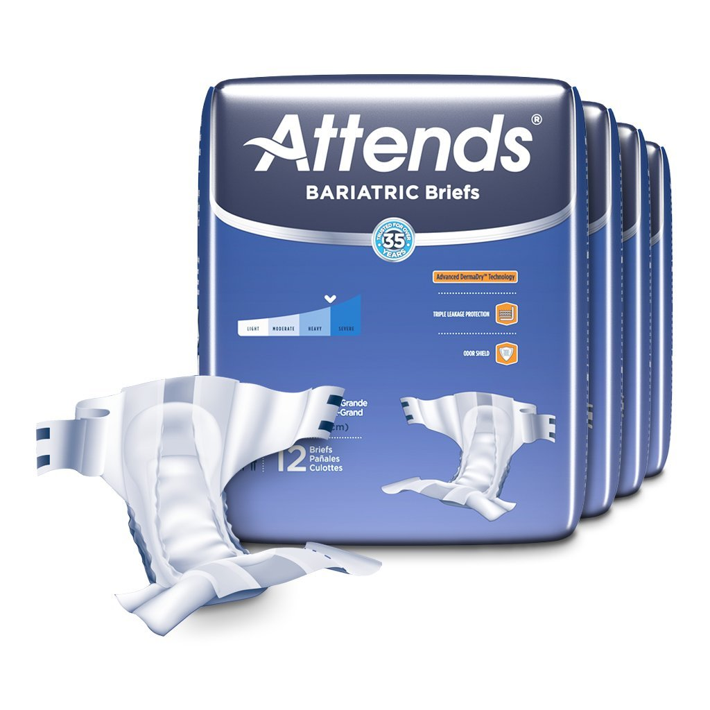 Attends Bariatric Briefs with Advanced DermaDry Technology for Adult Incontinence Care, XX-Large,