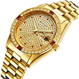 Fanmis Luxury Unisex Gold Crystal Quartz Calendar Gold Tone Stainless Steel Watch