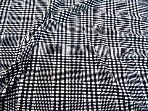 Plaid Fabric Glen (Fabric Printed Liverpool Textured 4 Way Stretch Glen Plaid Black White H201)