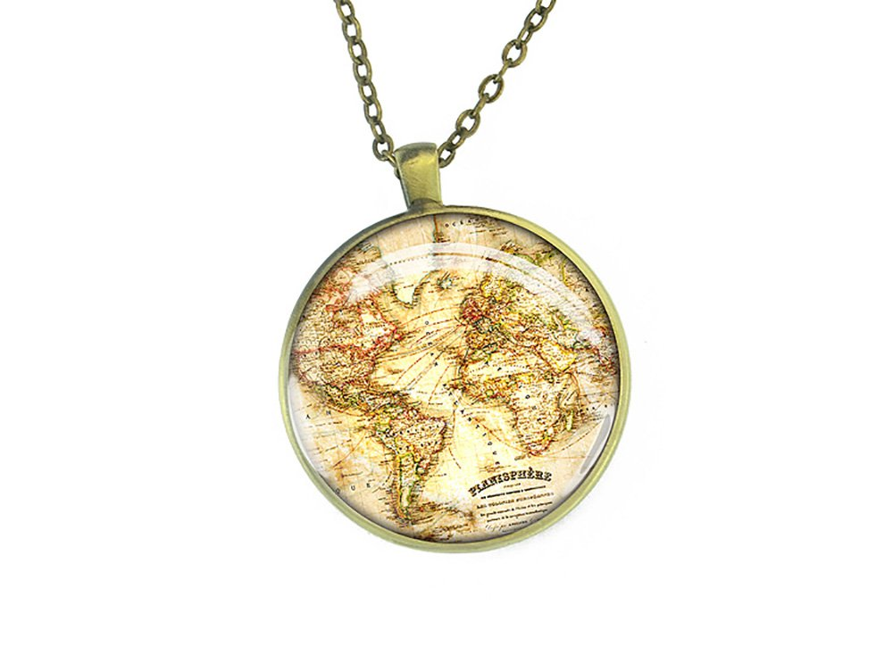 Handmade 1867 vintage World map necklace jewelry Christmas gift