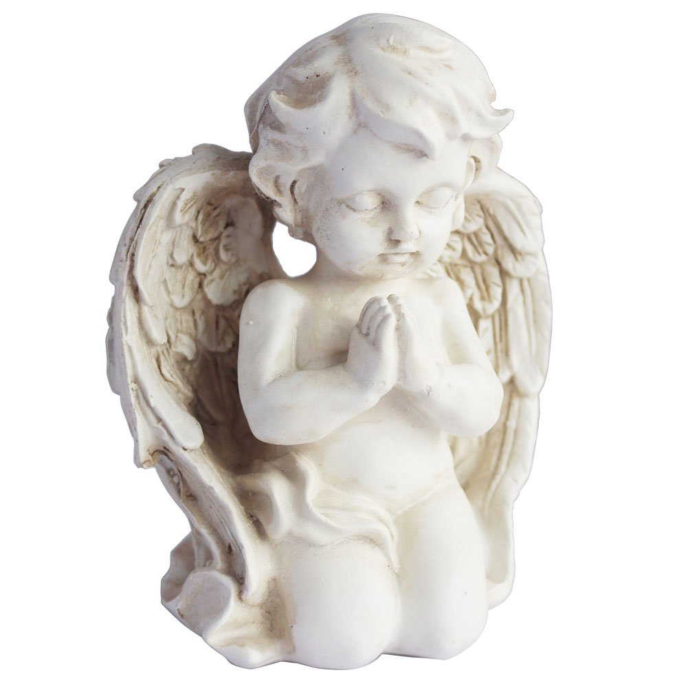 Kneeling Praying Cherub Statue Angel Statue Figurine Indoor Outdoor Home Garden Decoration Wings Angel Statue Sculpture Memorial Statue (Kneeling Praying Cherub)