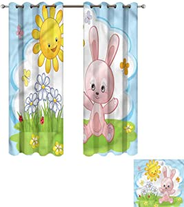 """Cash Hoover Window Blackout Curtains Children,Cute Rabbit in Garden,Complete Darkness, Noise Reducing Curtain 50"""" Wx84 L,2 Panels"""