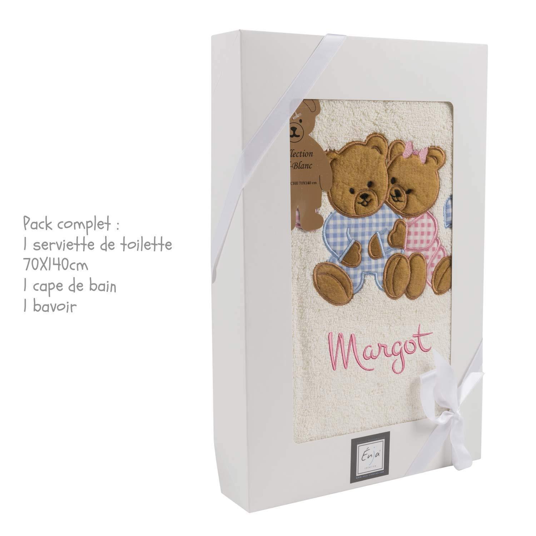 Cadeau personnalisé liste de naissance - pack serviette + bavoir + cape de bain brodé au prénom de l'enfant.