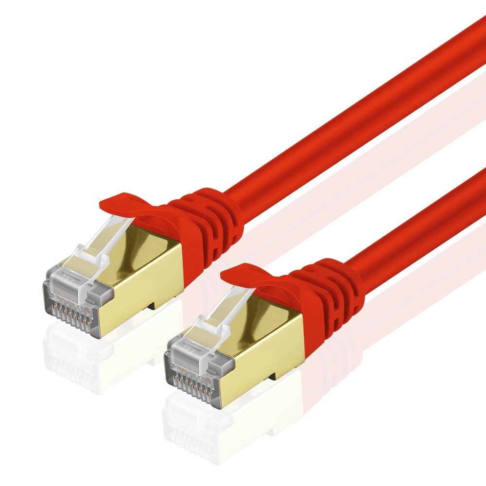 TNP Products TNP Cat6 Ethernet Patch Cable - Professional Gold Plated Snagless RJ45 Connector Computer Networking LAN Wire Cord Plug Premium Shielded Twisted Pair (50FT, Red) by TNP Products
