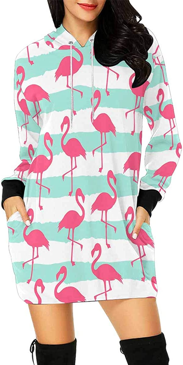 INTERESTPRINT Womens Hooded Dress with Pocket Flamingo Lines Pullover Tunic Drawstring