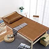 Zzaini Rattan Summer Sleeping Mat Folding Single Dormitory Two-piece Suit-C 90x190cm(35x75inch)