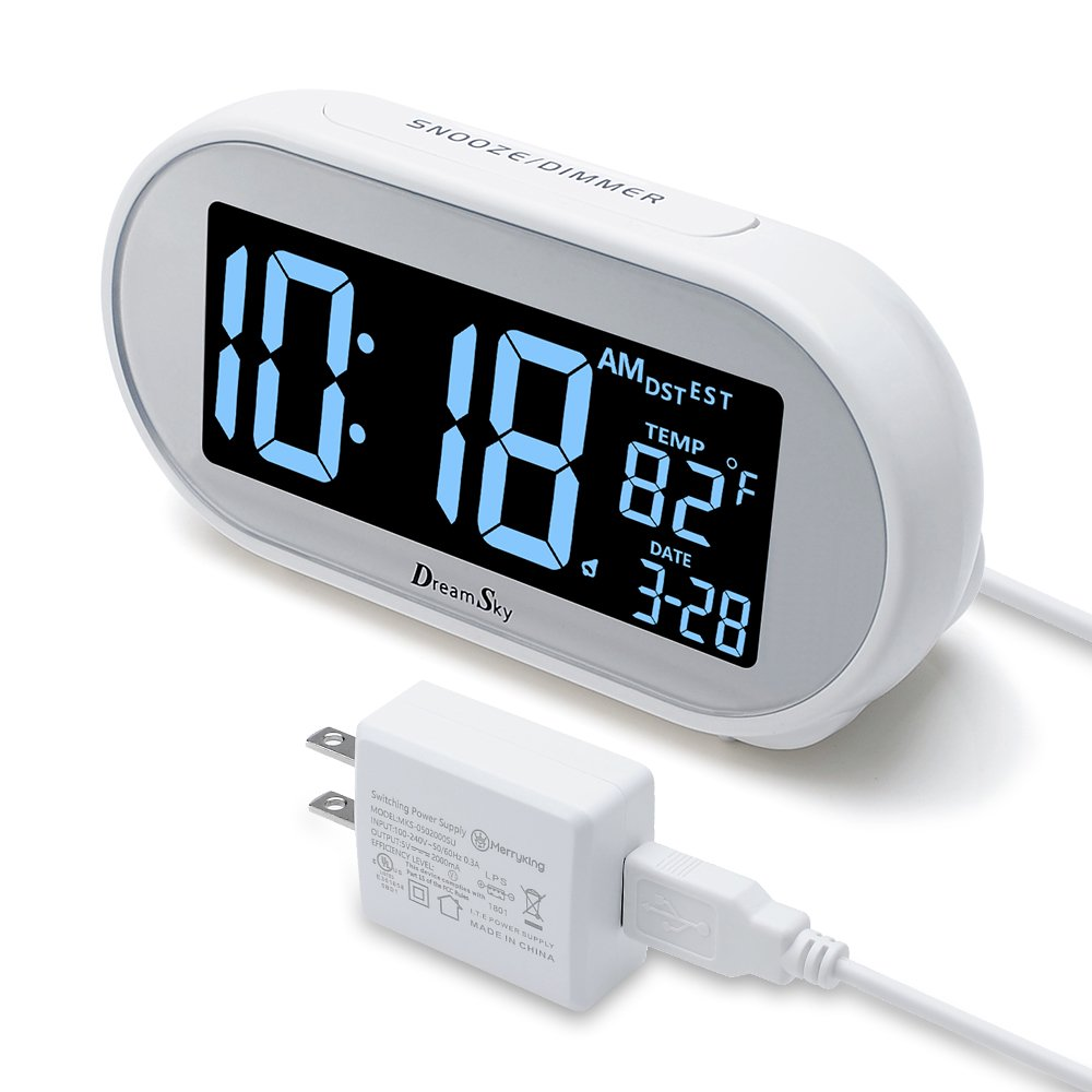 DreamSky Auto Time Set Alarm Clock With Snooze And Dimmer , Charging Station/Phone Charger With Dual USB Port .Auto DST Setting, 4 Time Zone Optional, Battery Backup. by DreamSky