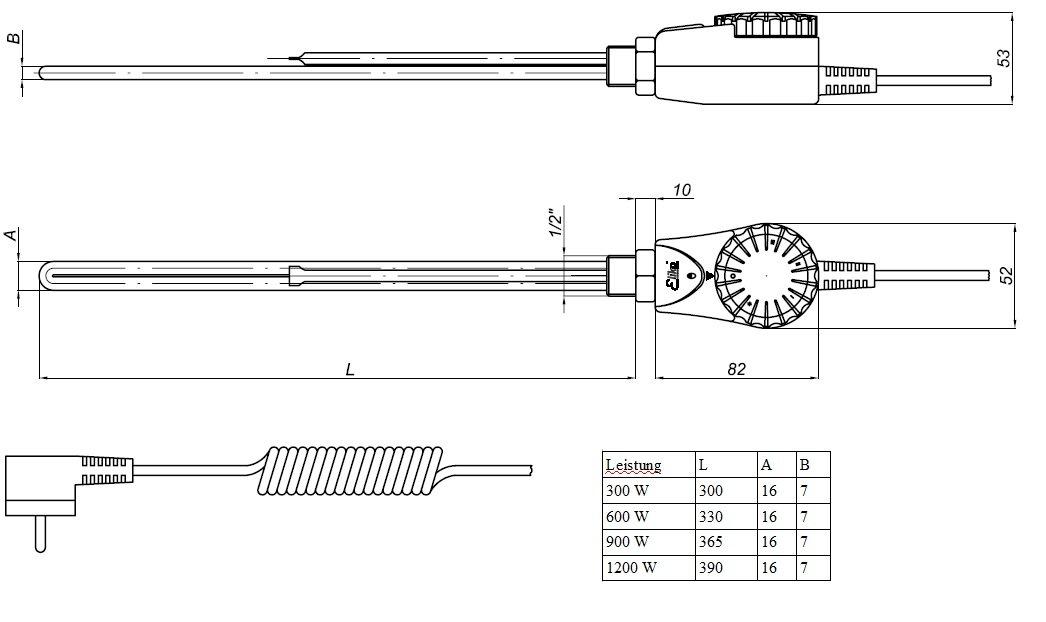 1//2 Heizpatrone Weiss 230V Elektro Heizstab f/ür Badheizk/örper 300W
