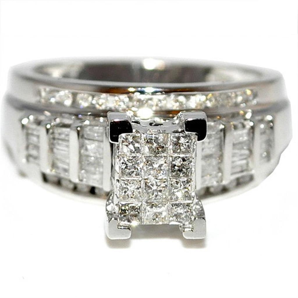 Princess Cut Diamond Wedding Ring 3 in 1 Engagement & Bands White Gold .9ctÂ