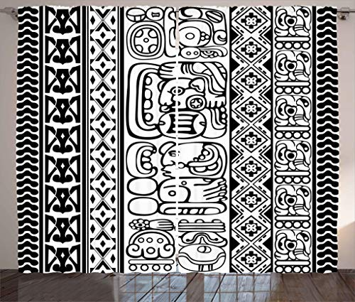 Ambesonne Tribal Curtains, Antique Aztec Mayan Folk Abstract with Animal and Geometric Ethnic Boho Pattern, Living Room Bedroom Window Drapes 2 Panel Set, 108W X 84L Inches, Black White
