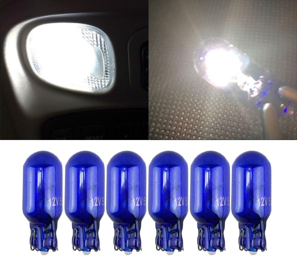 T10 W5W 5000K Super White Globe Front Park Head Light Bulb Glass Wedge Base