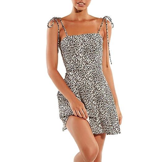 afea26a0f960 Women's Summer Spaghetti Strap Sleeveless Sexy V Neck Leopard Print Short  Casual Mini Dress Black