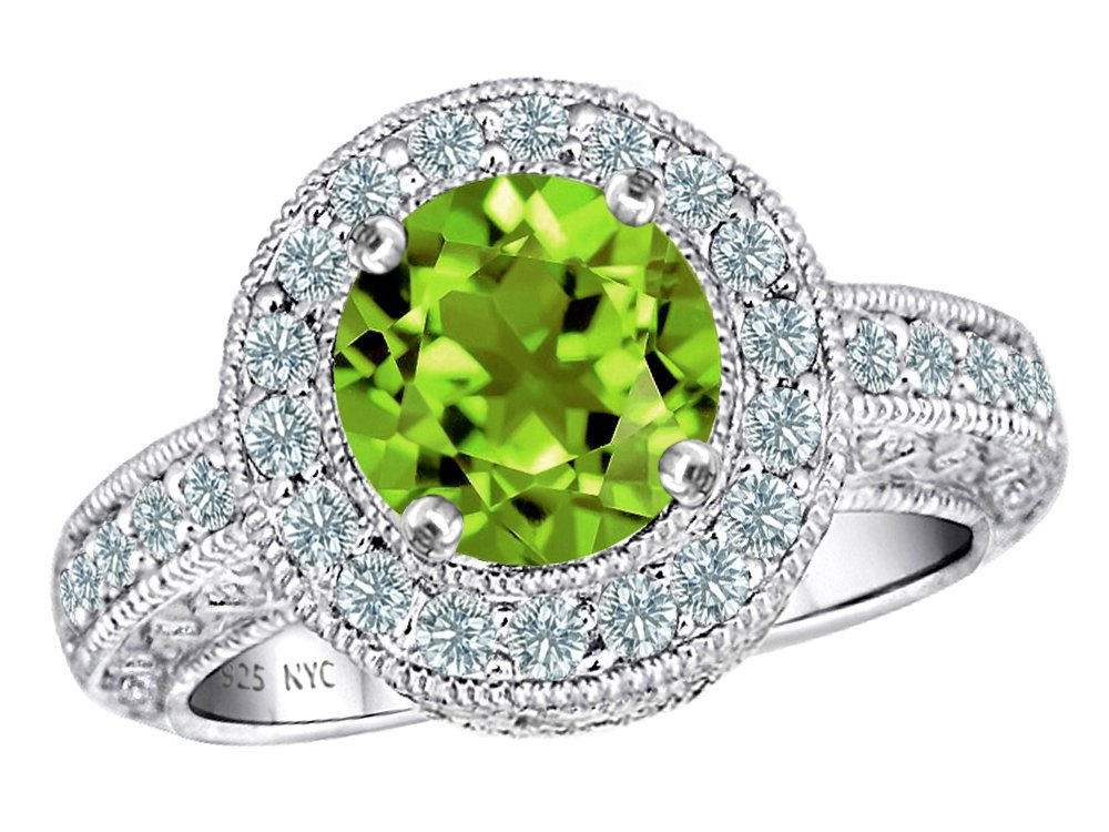 Star K 7mm Round Simulated Peridot and Cubic Zirconia Ring Sterling Silver Size 8.5