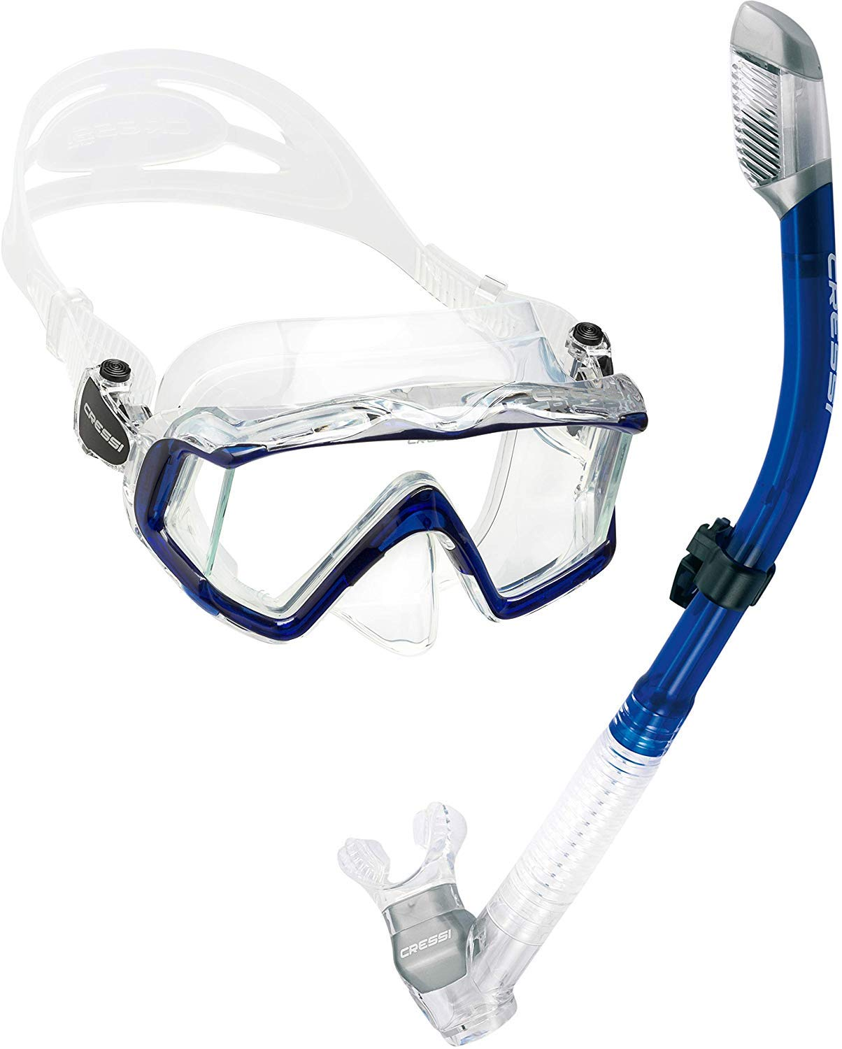 Cressi Panoramic Wide View Mask Dry Snorkel Set, Blue by Cressi