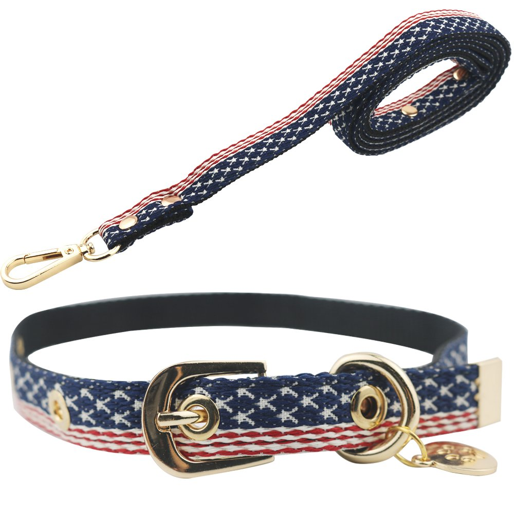 Normal L(neck 12\ Normal L(neck 12\ Umisun American Flag Nylon Dog Collar & Leash Set Adjustable Patriotic Dog Collar for Small Medium Dogs&Cats Walking Training,PL