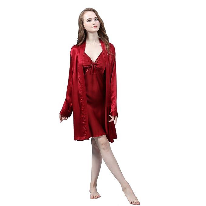 LULUSILK Conjunto de Pijama Mujer Bata Corta con Camisón de Lazo 19 Momme Atractivo, Vino