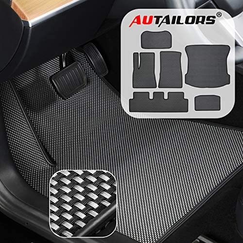 AUTAILORS Tesla Floor Mats for Newly Revised Model 3 After August 2020-All Weather Floor Mats Waterproof Lightweight and Odorless Made in USA-6pcs in Normal