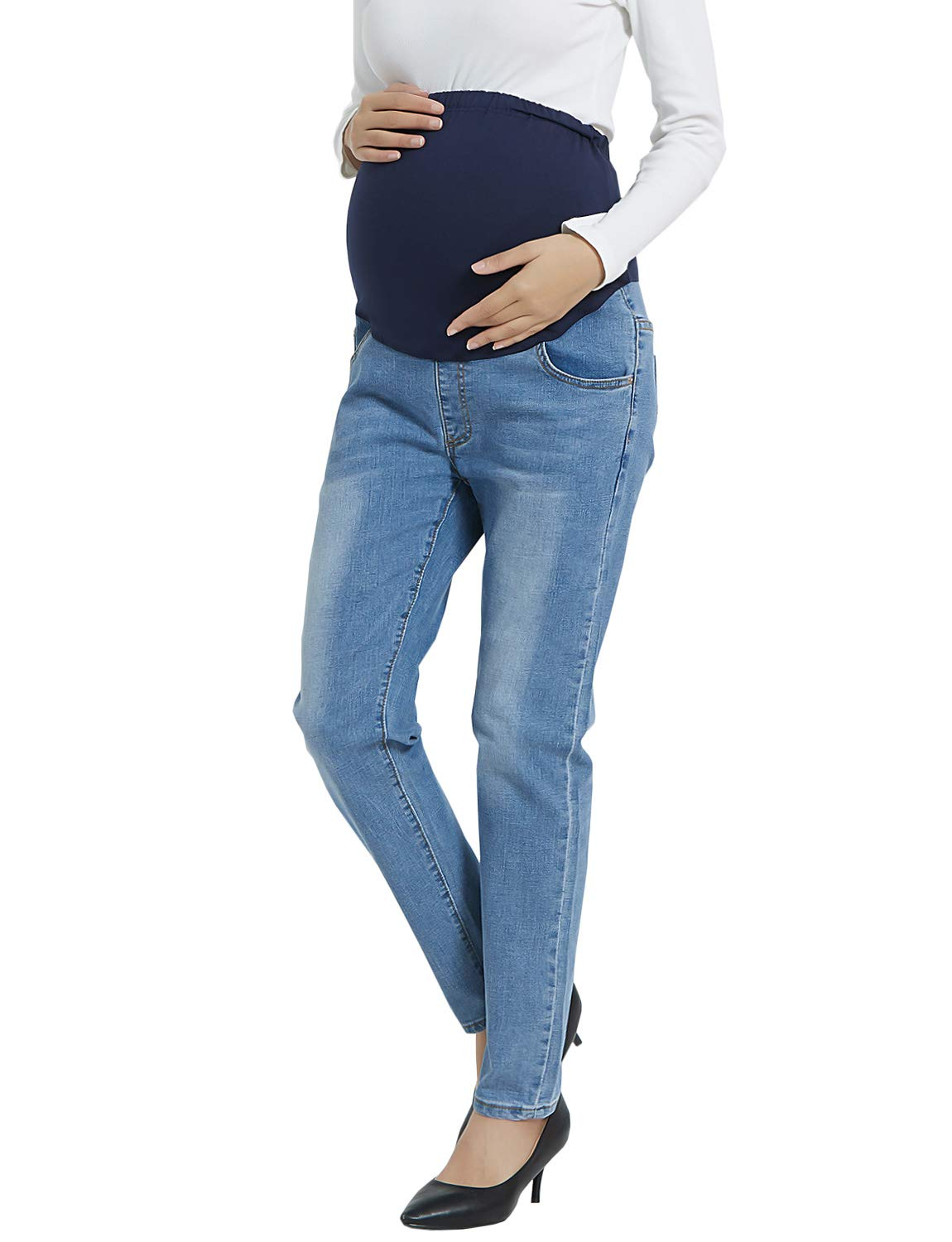Maternity Jeans Over The Belly Leggings Stretchy Skinny Leg Pants Light Blue Jeans XL by Bhome