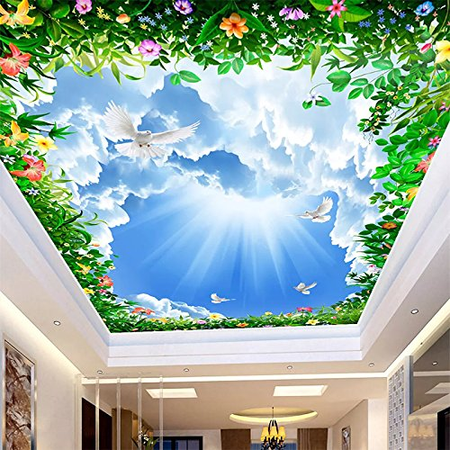 (Custom 3D Photo Wallpaper Blue Sky White Clouds Vine Ceiling Mural Living Room Bedroom Background Wall Decoration Wall Painting)