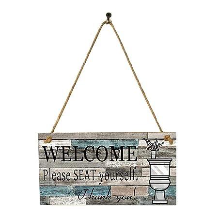 Letrero de bienvenida Placa de madera impresa Colgante de ...