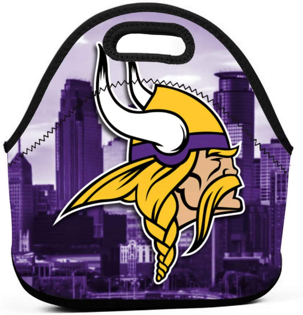 ZKHAKLG Minnesota Vikings Classic Neoprene Portable Lunch Bag, Travel, Lunch Box Outdoor Picnic, School, Work Office