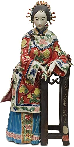 ChinaFurnitureOnline Chinese Porcelain Doll, Standing Qing Maiden with Pedestal Red