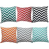 YAONIEO 18'x18' Pack of 6 Vintage Cotton Sofa Pillow Cover Set...