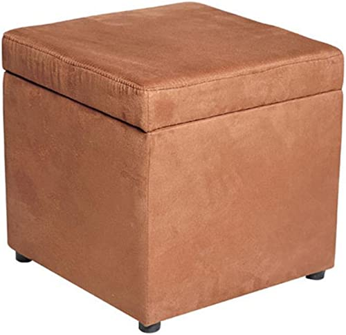 HOMCOM 16″ Microfiber Upholstered Cube Storage Ottoman Footrest Seat