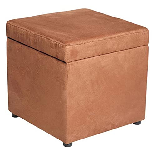 HOMCOM 16 Microfiber Upholstered Cube Storage Ottoman Footrest Seat with Hinged Lid – Brown