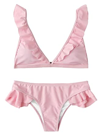 ac2c05d9ef9 SOLY HUX Women's Sexy Ruffle Strap Triangle Two Piece Bikini Set Swimwear  Pink S