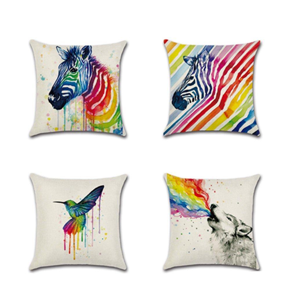 ASAKUSAIREN 2018 New Home Decor Square Cushion Cover Print Poster Animal Cotton Linen Throw Pillowcase (cute summer 4 pcs)