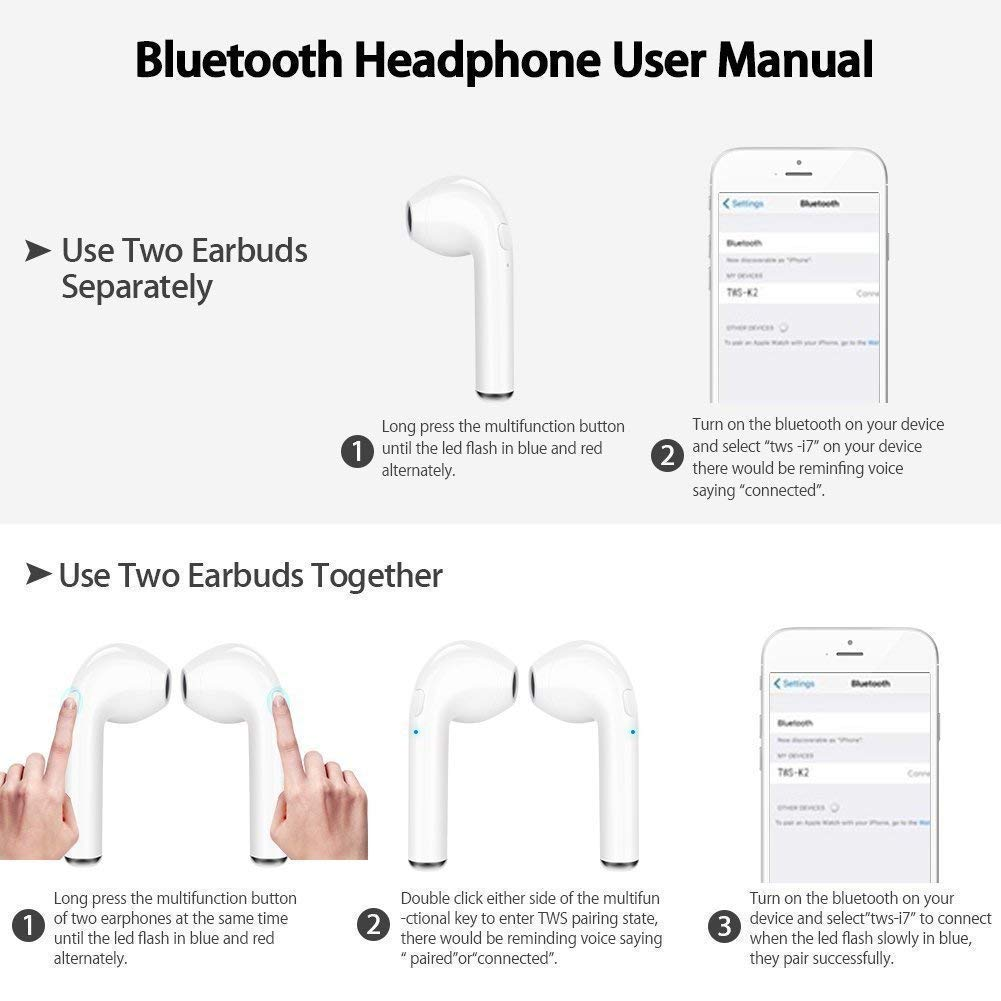 Wireless Earbuds,Bluetooth Headphones Stereo Earphone Cordless Sport Headsets,Bluetooth In-Ear Earphones with Built-In Mic for Smart Phones Standard, White