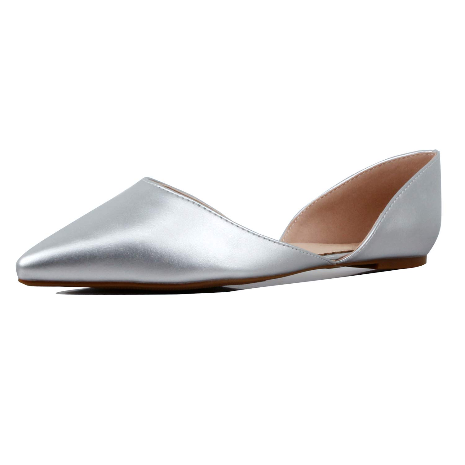 01 Silver Pu Guilty Heart Womens D'Orsay Almond Pointed Toe Slip On Casual Flats