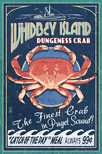 Whidbey Island, Washington - Dungeness Crab Vintage Sign Art Print, Wall Decor Travel Poster