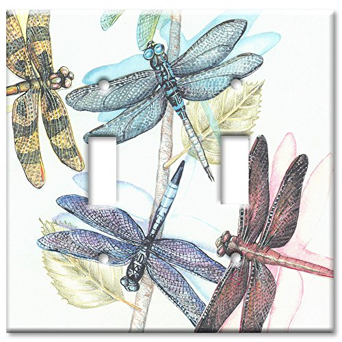 Double Gang Toggle Wall Plate - Dragonflies (Double Decorative Switchplate)