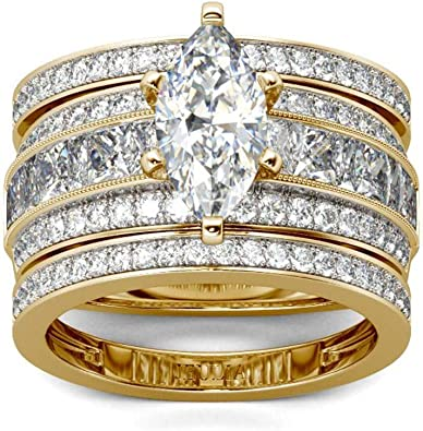 Sterling Silver Yellow Gold Plated 3 Toned Engagement Wedding CZ Stones Ring Set