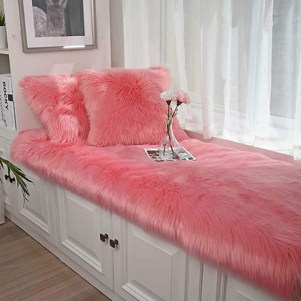 ZPEE Fluffy Bay Window Seat Cushions Pads Food,not-Slip Floor Mat Bathroom Rug,Soft Cozy Floor Mat,Home Decor Bedroom Rug Bench Cushion A 90x160cm(35x63inch)