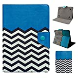Tsmine Nextbook Ares 8 / Nextbook 8-inch Tablet Flip Hybrid Wave Case - Universal Protective Lightweight Premium Fashion Hybrid Blue Waves Printed PU Leather Case Cover, Blue Waves