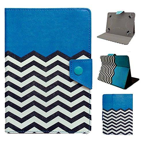 Tsmine Gigaset QV830 8 Inch Tablet Flip Hybrid Wave Case - Universal Protective Lightweight Premium Fashion Hybrid Blue Waves Printed PU Leather Case Cover, Blue Waves (Cover For Gigaset Tablet)