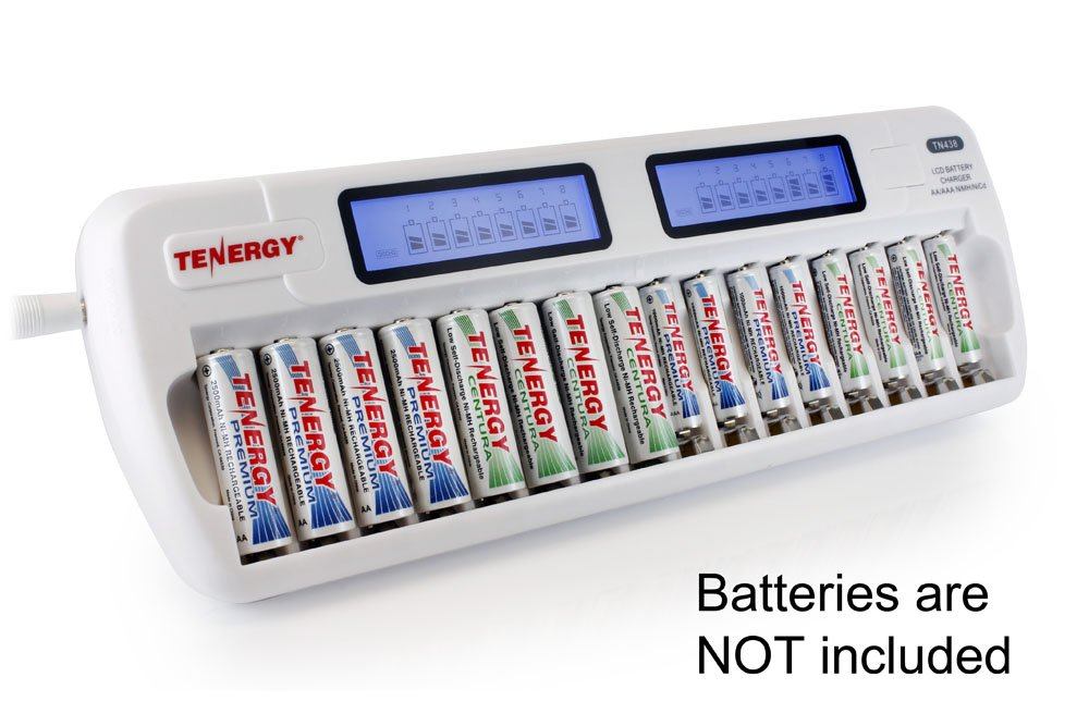 Tenergy TN438 16 Bay Smart Charger with LCD and Built-in IC Protection, AA/AAA NiMH/NiCd Rechargeable Batteries Charger with AC Wall Adapter and Car Adapter