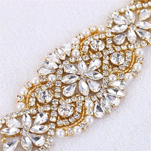 para Novia Oro Rhinestone Cinturon Perlas Applique el Vestido para Vestido Cristales piezas Cinturones Headpieces Boda 2 y Bolsas 013 con ZgOpq