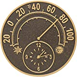 K&A Company Outdoor Thermometer and Clock - Solstice, 14'' x 14'' x 1.5'' x 8 lbs, French Bronze